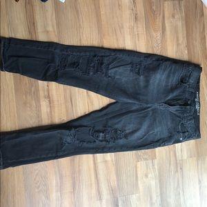 American Eagle Black Destroyed Mom Jeans